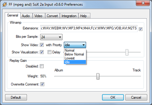 FF (mpeg and) SoX 2a Input Plugin for Winamp